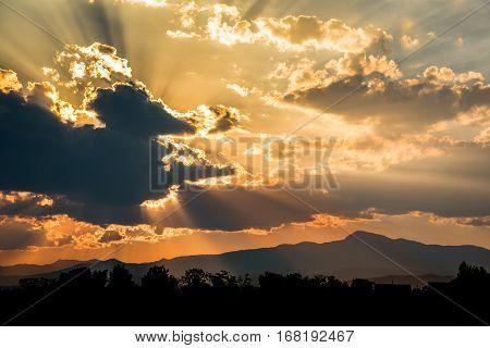 Evening Sky With Sun Beam Light And Cloud