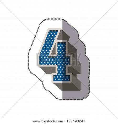 sticker three-dimensional number four dotted in blue color vector illustration