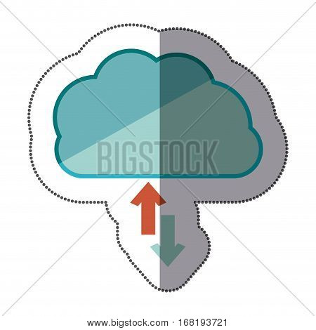sticker blue cloud with arrows in opposite direction vector illustration