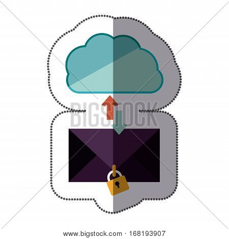 sticker blue cloud with arrows in opposite direction with enveloped and padlock vector illustration