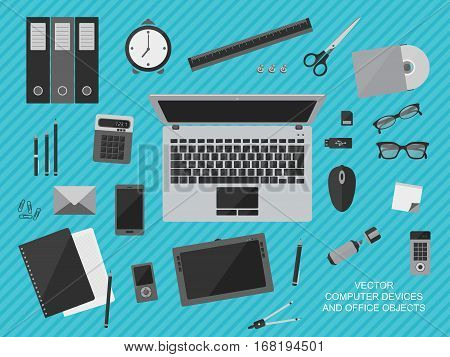 Flat design vector illustration of workplace with computer devices office objects and business documents
