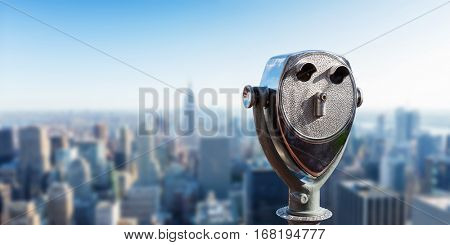 Binocular against observation deck view.