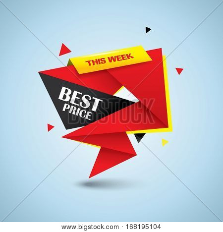 Best price bubble style banner - vibrant colors and origami design