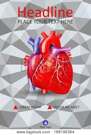Human heart in low poly on A4 cover design template. Good for medical scientific prints journals banners magazines conferences. Vector. White 3d geometric texture background.
