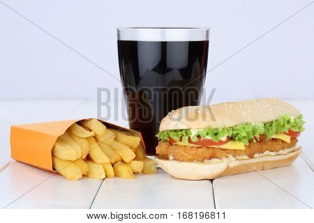 Chickenburger Chicken Burger Hamburger And Fries Menu Meal Combo Cola Drink Unhealthy Eating