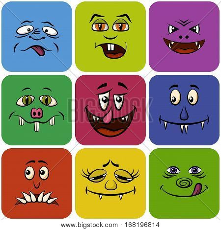Set of Monster Smileys, Funny Cartoon Characters, Different Faces in Colorful Squares, Elements for Your Design, Prints and Banners, Isolated on White Background. Vector