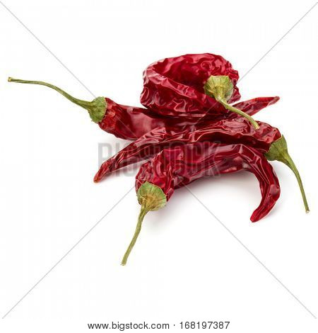 Dried red chili or chilli cayenne pepper isolated on white  background cutout.