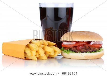 Hamburger And Fries Menu Meal Combo Cola Drink Isolated