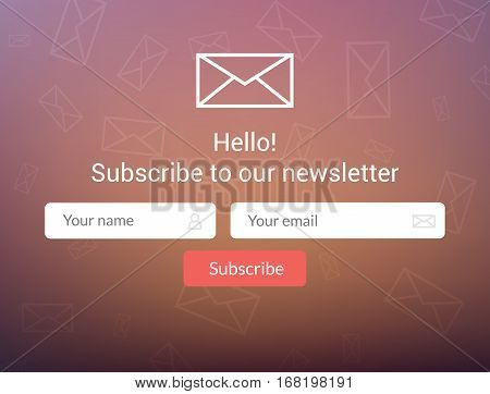 Vector template email subscribe. Submit form for website email letter banner