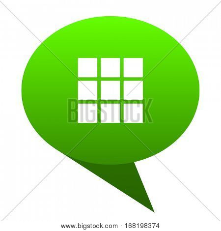 thumbnails grid green bubble web icon