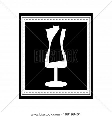 monochrome manikin tailor shop design in frame vector illustration