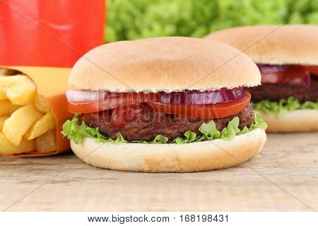 Hamburger And Fries Menu Meal Combo Drink