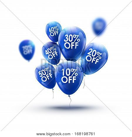 Red balloons market advertisment sale concept. Store or shop marketing banner design. Retail discount background.