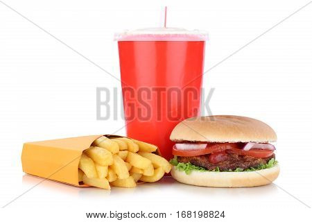Hamburger And Fries Menu Meal Combo Drink Isolated