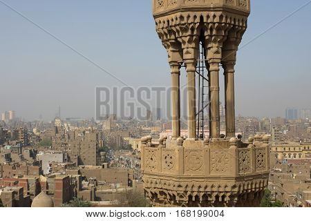 Cairo skyline and a minaret - Cairo, Egypt