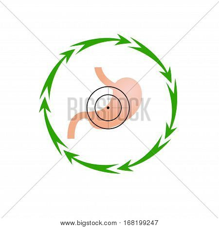 Vector illustration. The emblem logo. Stomach at gunpoint. Seven in a circle of arrows. Different colors.