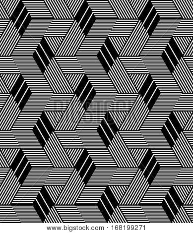 Seamless op art pattern. 3D illusion. Geometric texture. Vector illustration.