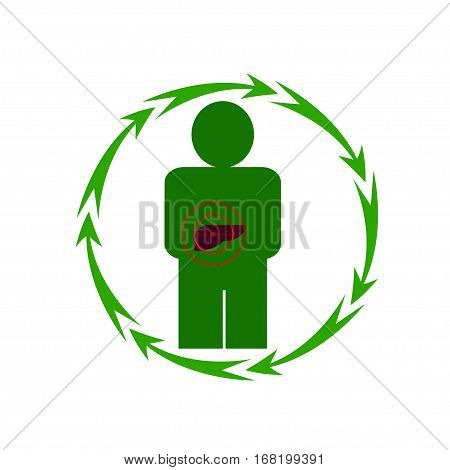 Vector illustration. The emblem logo. The human liver is in danger. Healthy lifestyle. Human. Seven in a circle of arrows. Different colors.