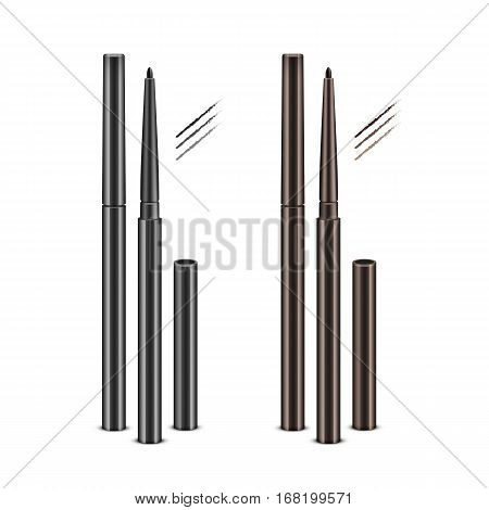 Vector Set of Black Brown Cosmetic Makeup Eyeliner Pencils with without Caps and sample strokes Isolated on White Background