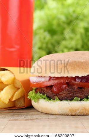 Hamburger And Fries Menu Meal Combo Fast Food Drink