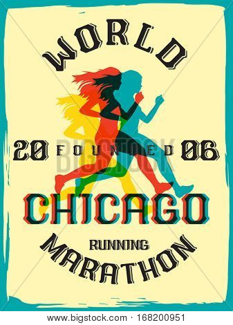World marathon series retro poster. Chicago marathon running. Vintage custom typeface. poster