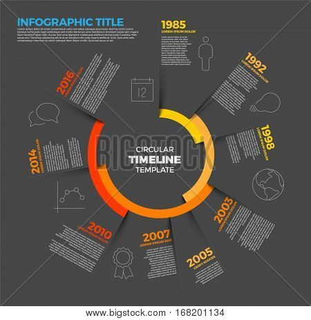 Vector Infographic circular timeline report template with the biggest milestones, icons, shadows and big colorful years labels - dark version