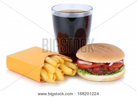 Hamburger And French Fries Menu Meal Combo Cola Drink Fast Food Isolated
