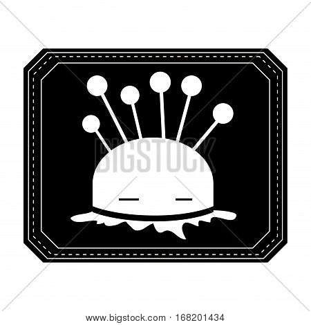 monochrome silhouette pincushion with pins in frame vector illustration