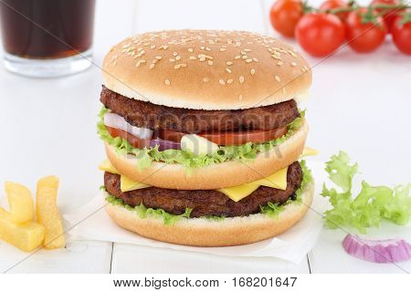 Double Burger Hamburger Menu Meal Combo Drink