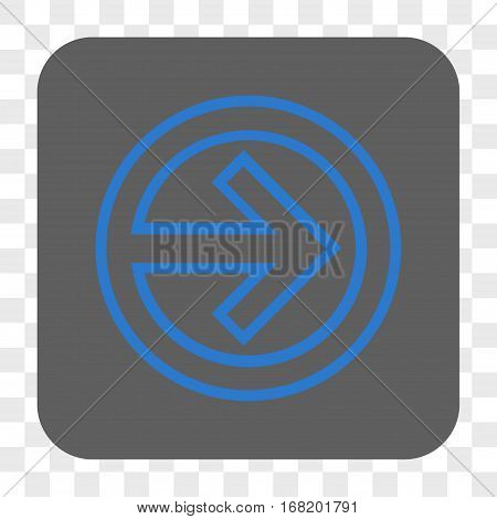 Import interface toolbar button. Vector icon style is a flat symbol in a rounded square button blue and gray colors chess transparent background.