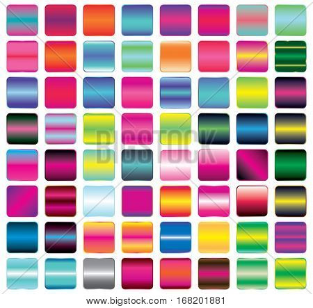 Set of Vibrant Gradient Button Icons for Your Design. Vector Illustration. Buttons with Metal and Neon Effect. Empty Squares