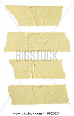 Strips of masking tape isolated on white background.