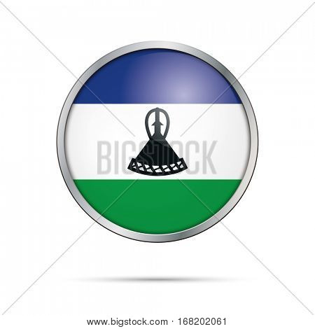 Vector Lesothoan flag button. Lesotho flag glass button style with metal frame.