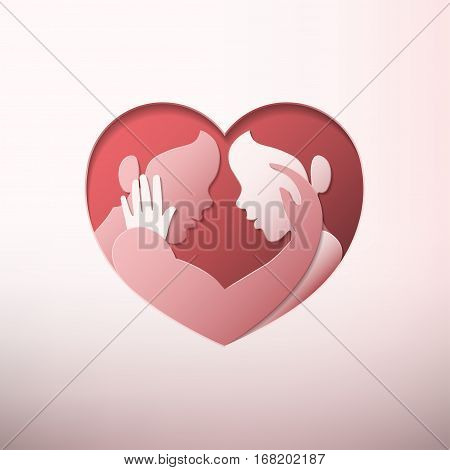 Happy Valentine's day man and woman caressing each other in heart shaped frame in paper art style