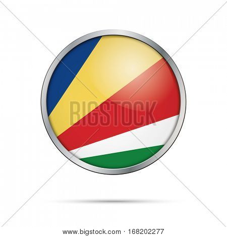 Vector Seychellean flag button. Seychelles flag glass button style with metal frame.