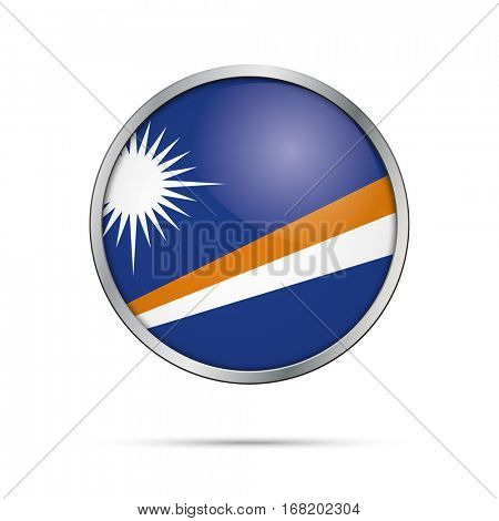 Vector Marshall Islands flag glass button style with metal frame.