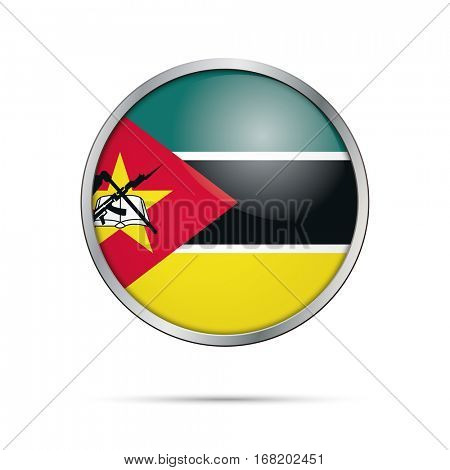 Vector Mozambican flag button. Mozambique flag glass button style with metal frame.