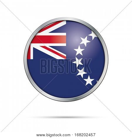 Vector Cook Islands flag glass button style with metal frame.