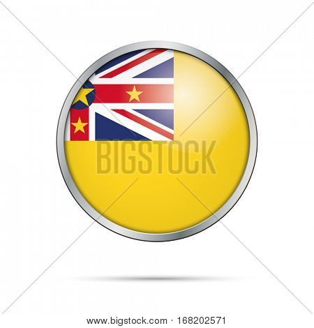 Vector Niue flag glass button style with metal frame.