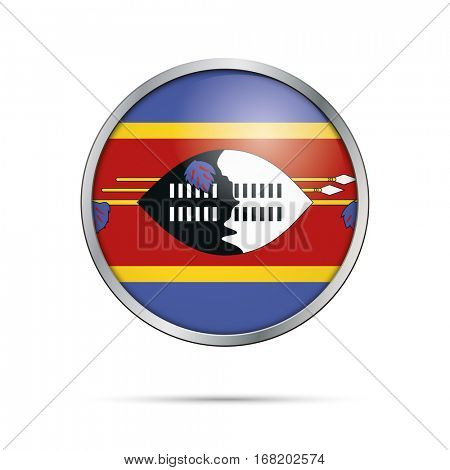 Vector Swazi flag button. Swaziland flag glass button style with metal frame.