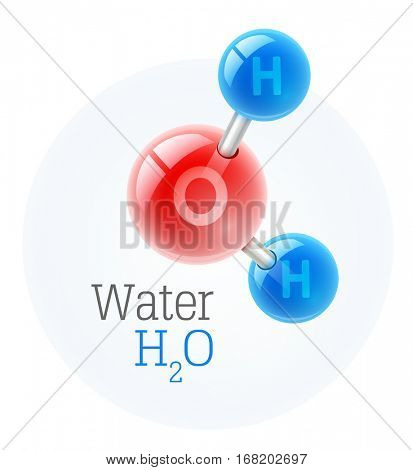 Chemistry model of molecule water scientific elements. Integrated particles hydrogen and oxygen. Vector illustration. Isolated on white background. Chemistry conceptual realistic icon for education