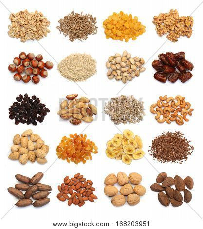 Collection of healthy dried fruits cereals seeds and nuts isolated on white background. Large Image