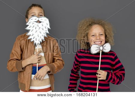 Little Children Posing Papercrafted Beard Bowtie