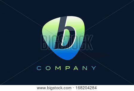 b Letter Logo. Oval Shape Modern Design with Glossy Look.