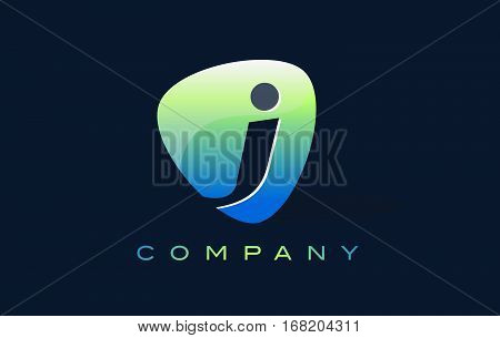 j Letter Logo. Oval Shape Modern Design with Glossy Look.