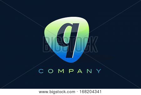 q Letter Logo. Oval Shape Modern Design with Glossy Look.