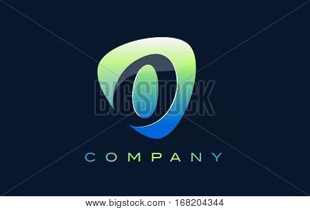 o Letter Logo. Oval Shape Modern Design with Glossy Look.