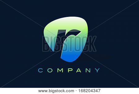 r Letter Logo. Oval Shape Modern Design with Glossy Look.