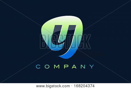 y Letter Logo. Oval Shape Modern Design with Glossy Look.