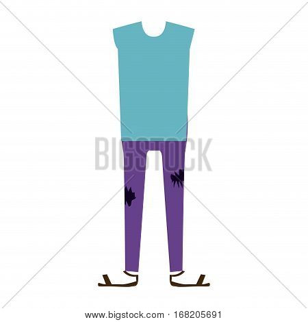 color silhouette with male clothing pijama vector illustration